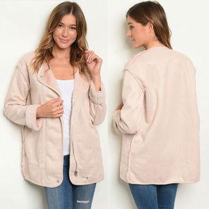 Jackets & Blazers - Faux Fur Coat Linine, Nude Suede Coat for Women
